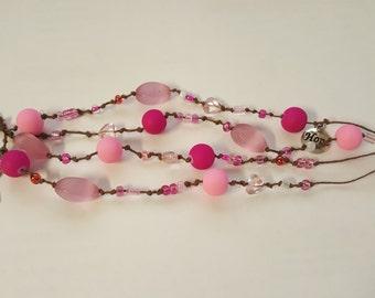 Breast Cancer Awareness Multistrand Women's Bracelet,  Beaded, Pink