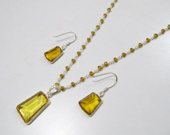 Sterling Silver Pendant Set with Yellow citrin quartz Beaded chain/ Fancy Shape Stone / Size15x28mm including Bail /Hydro quartz Jewelry