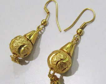 Simple Vermeil Earrings/Metal Beaded Earrings Gold Plated / Earring with Hanging Gold Beads / Unbelievable Prices