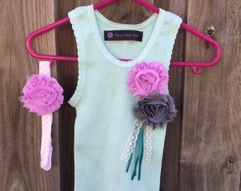 Baby Girl Singlet with shabby flower embellishment and matching headband - Size 0