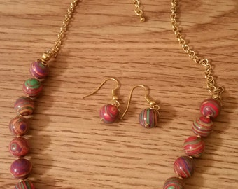 Necklace Earring Set Red Marbled Beads