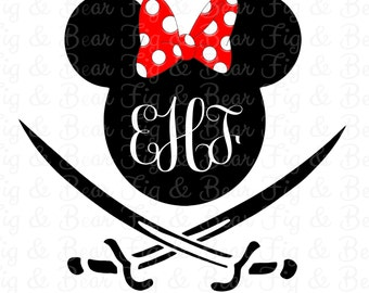 Monogrammed Disney Minnie Mouse Pirate Shirt Iron On Transfer Personalized Free for Girls Monogram