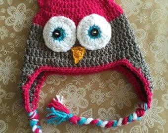 Crocheted Little Girl Owl Hat