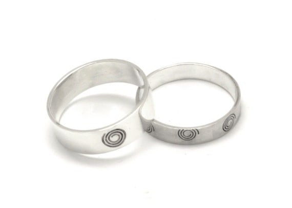 Groom And Bride Silver Wedding Band Ring Set His And Hers