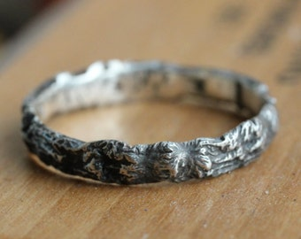 Unique silver ring, reticulated, organically shaped