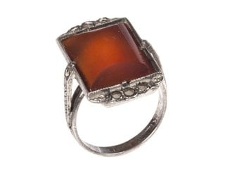 Art Deco Sterling Silver Rectangular Carnelain and Marcasite Ring