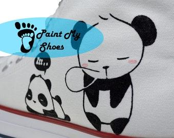 Panda converse, Hand Painted Shoes, Custom Art Panda Shoes, Custom Converse, Birthday Gifts, Free US Shipping V2