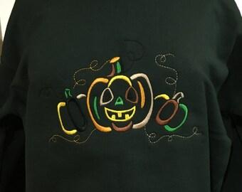 Embroidered Halloween Sweatshirt with Pumpkins