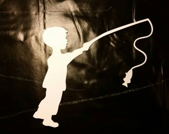Boy Fishing Window Decal ITEM#B-FISHWHITE
