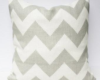 Chevron Pillow Cover - Gray Cream White 18 x 18 - Jonathan Adler for Kravet in Limitless