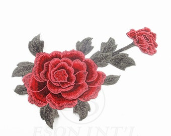 1 piece Red Roses Tattoo Biker Embroidered Applique Patch ,Fabric Rose Embroidered Applique  Patch