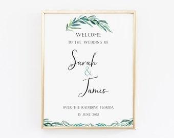 Printable wedding welcome sign, welcome wedding sign, wedding sign, eucalyptus sign, botanical sign, printable wedding signs, welcome sign