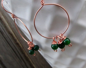 Jadite Earrings, Copper Hoop earrings