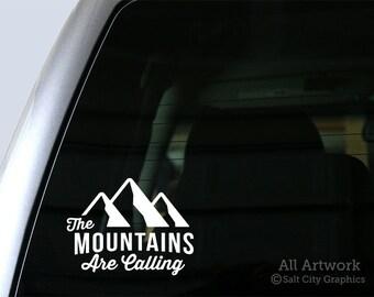 The Mountains Are Calling - Vinyl Sticker Vinyl Decal - Outdoor Recreation - Car Decal, Laptop Sticker, Window or Bumper Sticker