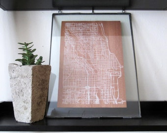Chicago Street Grid Map - White on Wood Veneer