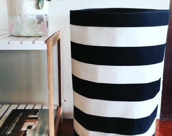 Large hamper size Black and white stripe fabric laundry hamper or toy basket, fabric basket, storage basket, storage bin, round large basket