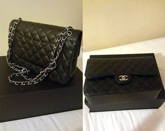 "Gorgeous CHANEL Handbag Black Leather Quilted Paris 12"" Shoulder Luxury Bag - New Style 2015"