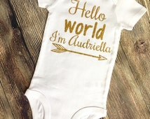 Hello world onesie, hello world onesie with name, custom baby onesie, glitter baby onesie, newborn onesie with glitter, baby girl onesie