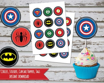 Superheroes Chalk 2 Inch Circles, Stickers, Cupcake Toppers, Tags, Labels INSTANT DOWNLOAD
