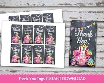 Shopkins Thank you Tags Shopkins Favour Labels Shopkins Thank You Labels Shopkins Treat Bags Tags Shopkins Favor INSTANT DOWNLAOD