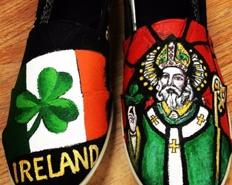 Love for all things Irish.  Customer painted shoes for customer who loves Ireland.