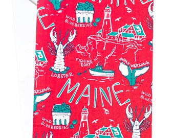 Maine Card, Maine Travel, New England, Travel Card, Adventure Card, Wanderlust, Lobster, Lighthouse, Whale