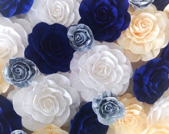 10 large giant crepe paper flowers rosse blue silver Wall arch decor Photo backdrop beach wedding bridal baby shower boy baptism princ party