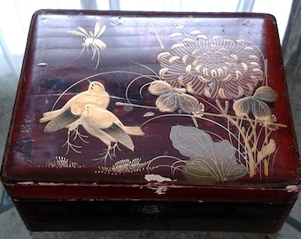 French Vintage Decorative trinket box, wood inlayed depicting flowers, birds and insects in a Japanese style