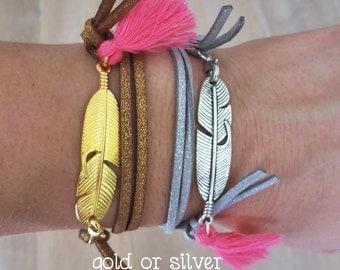 Boho chic bracelet, bohemian bracelet, tassel bracelet, wrap bracelet, feather bracelet, ibiza bracelet, gypsy bracelet, boho chic jewelry