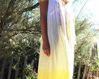 long summer dress, Cotton Maxi Beach Dress TieDye Lemon & White