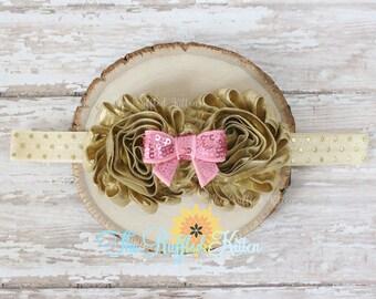 Gold & Pink Shabby Hair Blossom Headband - Hair Clip