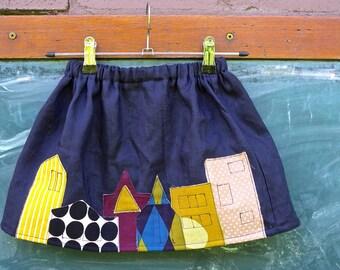 Girls' Linen Gathered Skirt in Navy/London Town Skirt/Pull on kids Linen Skirt/Toddler Skirt/Linen Skirt/Flax Skirt