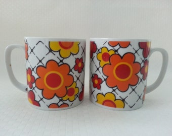 RESERVED For Marlene - Vintage Pair of Orange, Yellow Flowers Coffee Mugs, Flower Power, Kitsch Cups