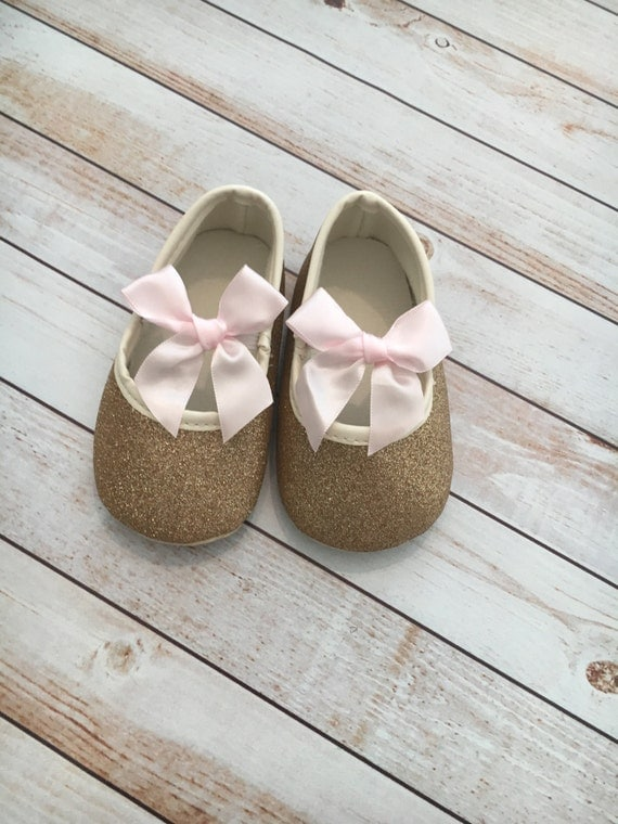 FREE SHIPPING Rose Gold Shoe Pink Bow Shoes Glitter Shoes