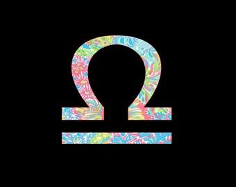 Libra Sign of the Zodiac Custom Vinyl Decal, Preppy Prints, Sun Sign, Star Sign, Zodiac Symbol Sticker, Car Decal