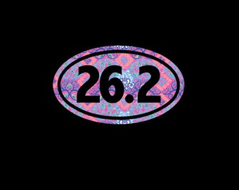Marathon 26.2 Euro Decal, Patterned Vinyl, Choice of Pattern and Size, Running, Runner, Run