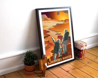 NASA Mars travel recruitment poster -  Surveyors wanted to explore Mars and it's Moons