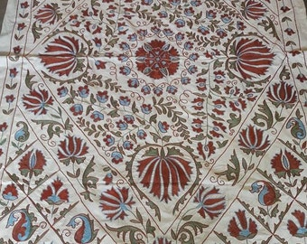 A Traditional Uzbek Suzani. A Handmade Embroidery. Perfect when used as a Table cloth, a Bedspread or a Wall hanging
