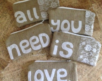 All You Need Is Love Bridesmaid Bags