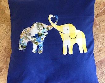 Elephant Love - Appliqué Cushion Cover
