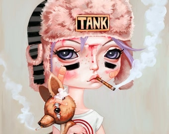 "Tank Girl and Booga - 8""x8"" - Art Print - pop surrealism, big eyes, fan art, punk, comic book, lowbrow art"