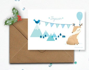"""Map """"Happy holidays"""" and its Fawn - envelope kraft"""