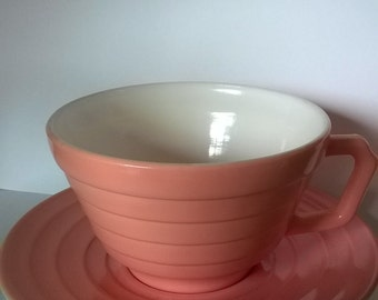 Vintage Pink Moderntone Hazel Atlas Cup and Saucer Set, Platonite