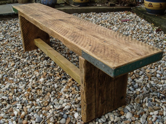 Wood Scaffold Boards : Reclaimed scaffold board rustic chunky wood bench