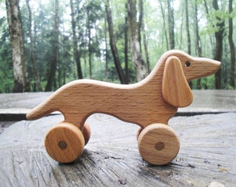 Wooden Rolling toy Sausage Dog Learning Wooden Pull Toy for toddlers Montessori Wood Toy Animals on wheels Gift for boys Wiener Dog