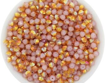 White Opal Summer Blush (3mm - 4mm) Swarovski Crystal 5328 XILION Bicones