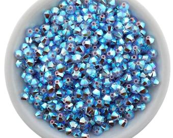 24 Air Blue Opal AB2X (3mm - 6mm) Swarovski Crystal 5328 XILION Bicones