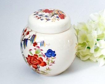 Elegant China Ginger Jar, Tea Canister, Biscuit Barrel by Sadler, c 1940 s