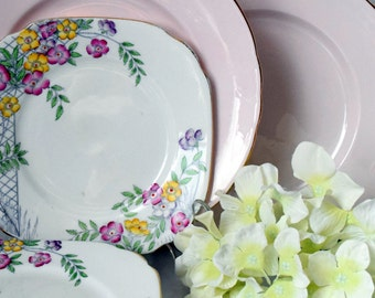Tea Plates in Pink Tuscan and Floral Royal Albert, c 1940 s
