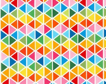 Geometric Rainbow Remix Triangles Plaid Bright Diamonds - Robert Kaufman - Confetti Pop - PRE-Washed Tula Fabric